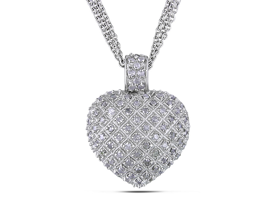Diamond collection delamore jewelry 1 ct tw diamond heart pendant with triple chain in sterling silver mozeypictures Choice Image